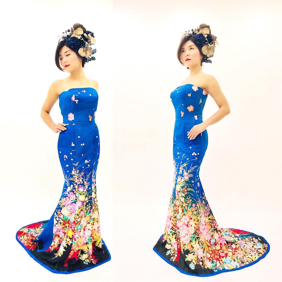 ブルーのマーメイドドレス  鮮やかなロイヤルブルーのドレスは本振袖で制作したオリジナルの一点ものです  試着はDMからもOKです @aliansa
