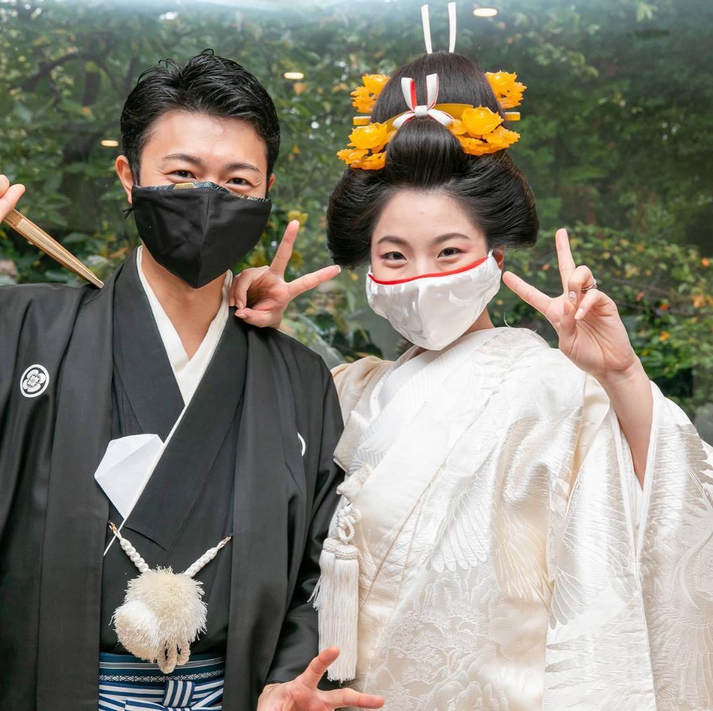 白無垢に白無垢マスクでお揃いコーデ 特別な日だから特別なマスクで過ごしたい🥰