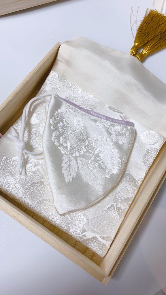 白無垢マスク ポーチ 白無垢 素材 生地 織柄 シルク アリアンサ
