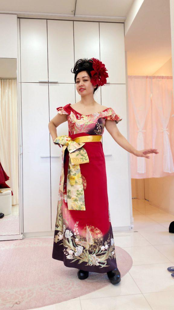 パーティードレス ハイウエスト エンパイアライン ロングドレス 着物ドレス KIMONO Dress