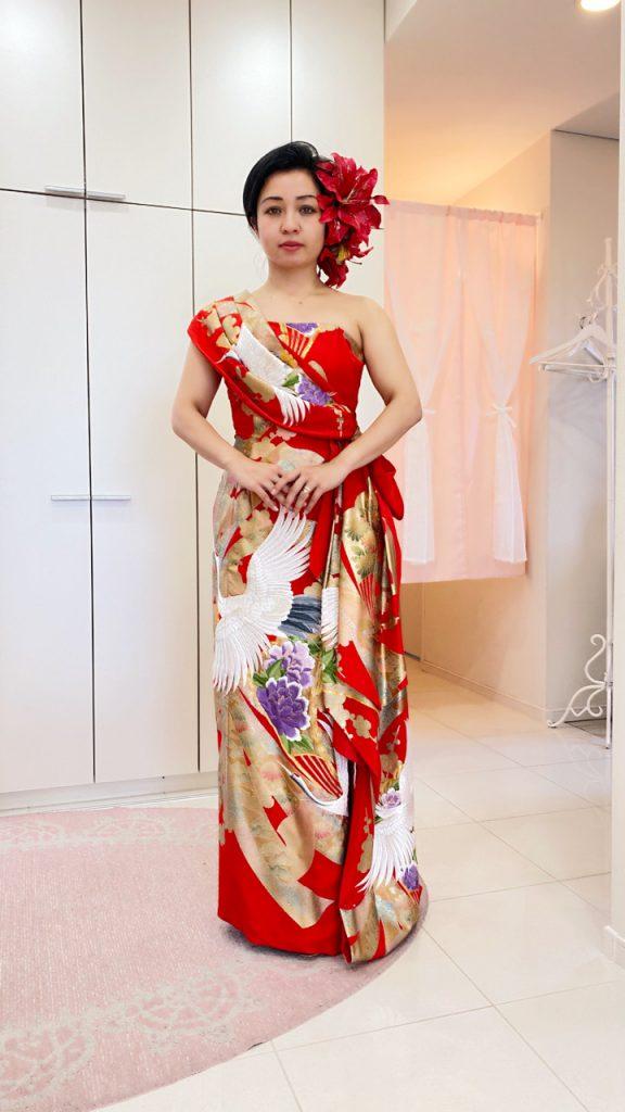 スレンダードレス アリアンサ オリエンタル ドレス 大きな鶴の柄 kimono dress