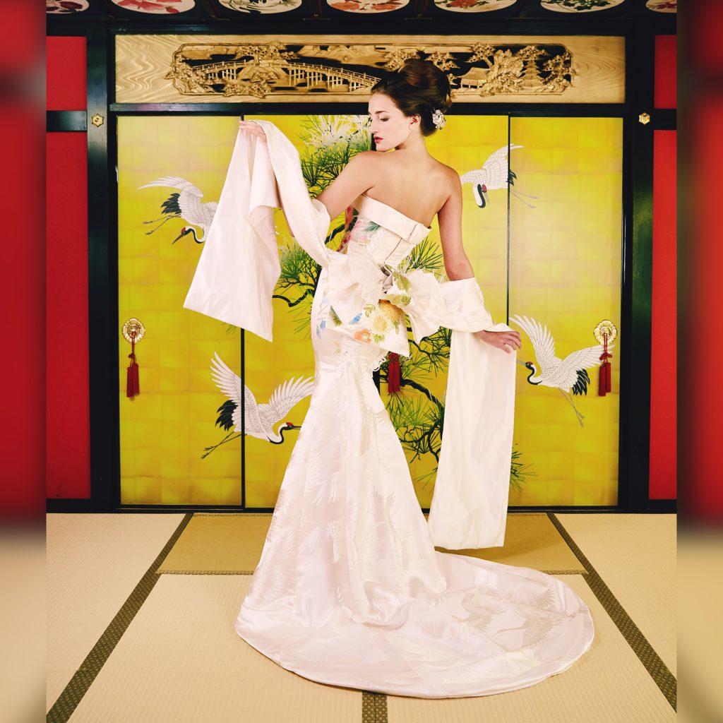 白無垢 マーメイドドレス 羽 帯