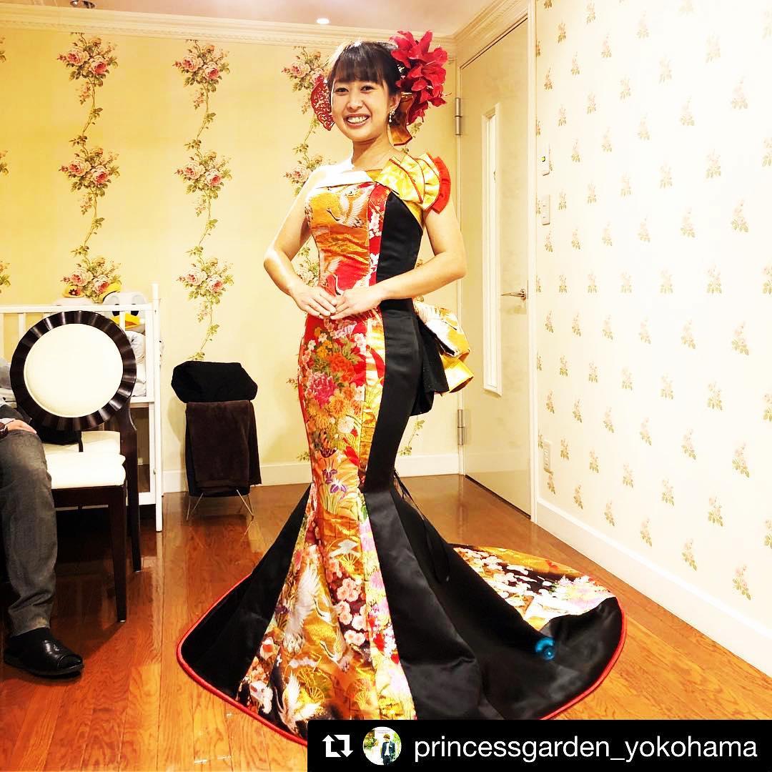@princessgarden_yokohama with @get_repost ・・ プリンセスガーデンヨコハマで、 アリアンサの和ドレスフェア開催中❣️ フェアは、明日までですよー!! 私は今日、午前中だけお手伝い 美しい花嫁さんたちは、幸せオーラいっぱいで、私も楽しいお時間を過ごさせて頂きました。