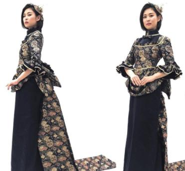 鹿鳴館をイメージしたストレートシルエットのドレスモデルは #山下ひまわり さん…