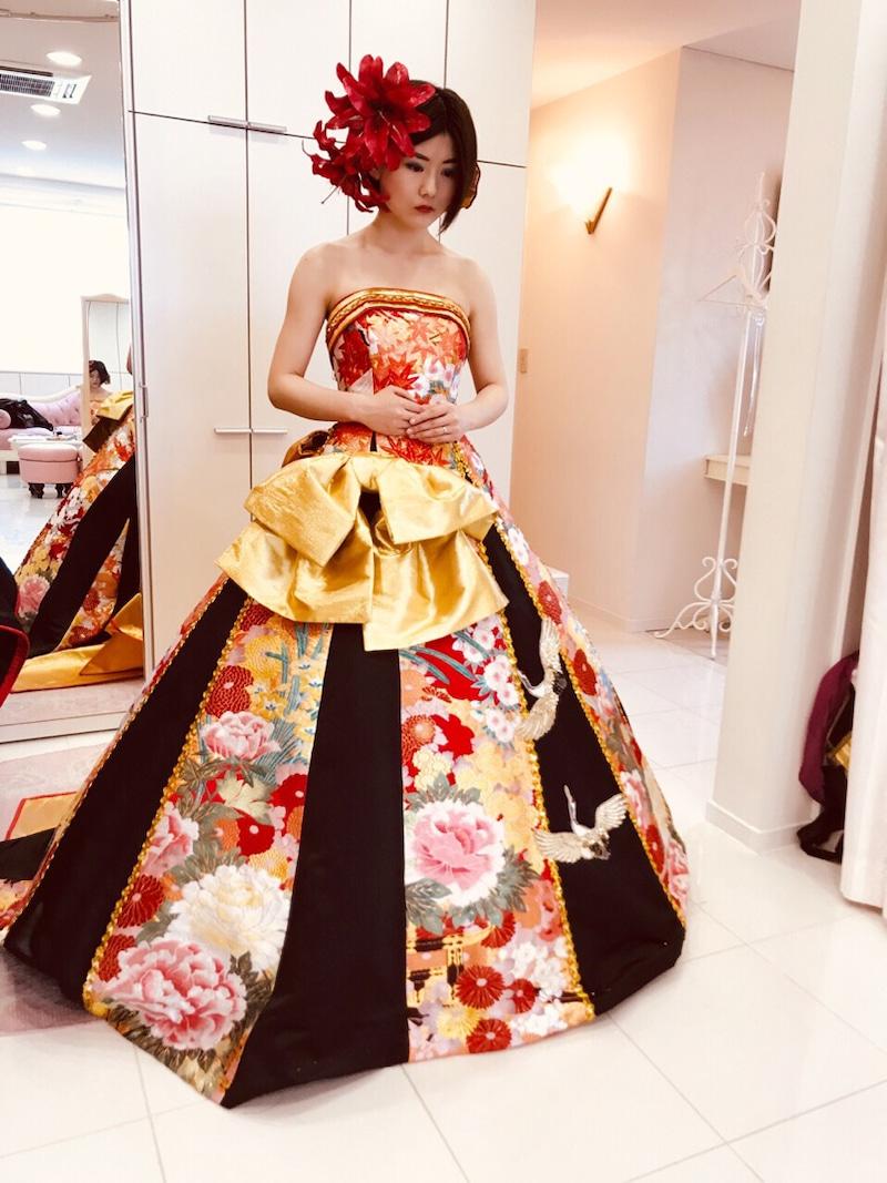 【ウェディングドレス】Aラインスカートのアレンジ例:和ドレスのカスタマイズはこんな感じで作ります