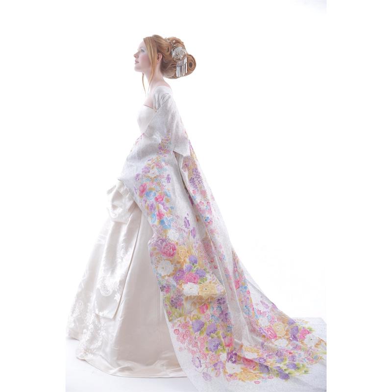 着物風ドレス 白無垢 シルク 絹 オーガンジー打ち掛け アリアンサ