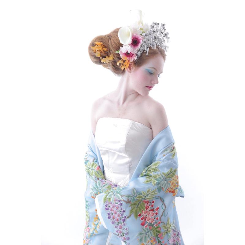 水色着物 手刺繍 白無垢ドレス ウェディングドレス 白無垢 アリアンサ